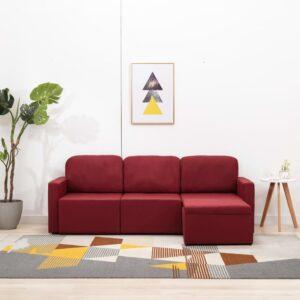 Sofá-cama modular de 3 lugares tecido vermelho tinto - PORTES GRÁTIS