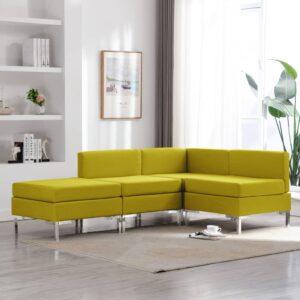 4 pcs conjunto de sofás tecido amarelo - PORTES GRÁTIS