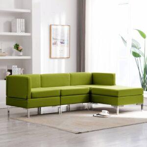 4 pcs conjunto de sofás tecido verde - PORTES GRÁTIS