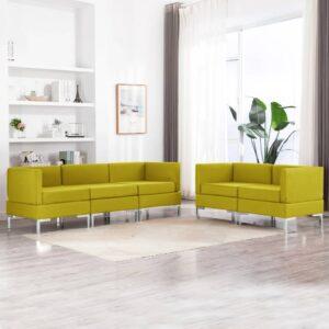 5 pcs conjunto de sofás tecido amarelo - PORTES GRÁTIS