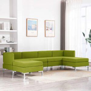 6 pcs conjunto de sofás tecido verde - PORTES GRÁTIS