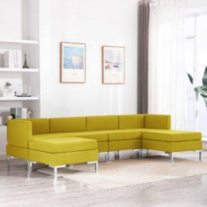 6 pcs conjunto de sofás tecido amarelo - PORTES GRÁTIS