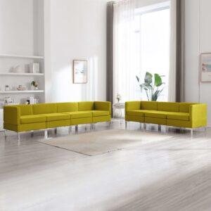 7 pcs conjunto de sofás tecido amarelo - PORTES GRÁTIS