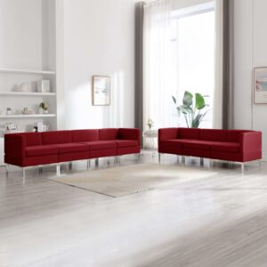 7 pcs conjunto de sofás tecido vermelho tinto - PORTES GRÁTIS