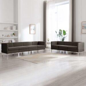 7 pcs conjunto de sofás tecido cinzento-acastanhado - PORTES GRÁTIS