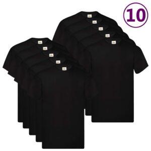 Fruit of the Loom T-shirts originais 10 pcs algodão XXL preto - PORTES GRÁTIS