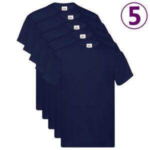 Fruit of the Loom T-shirts originais 5 pcs algodão 3XL azul-marinho - PORTES GRÁTIS