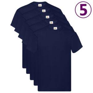 Fruit of the Loom T-shirts originais 5 pcs algodão 4XL azul-marinho - PORTES GRÁTIS