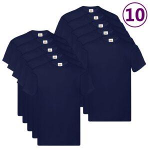 Fruit of the Loom T-shirts originais 10 pcs algodão S azul-marinho - PORTES GRÁTIS