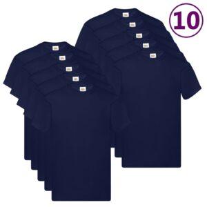 Fruit of the Loom T-shirts originais 10 pcs algodão 4XL azul-marinho - PORTES GRÁTIS