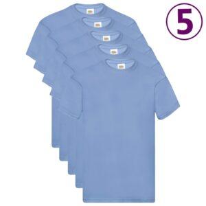 Fruit of the Loom T-shirts originais 5 pcs algodão 3XL azul-claro - PORTES GRÁTIS