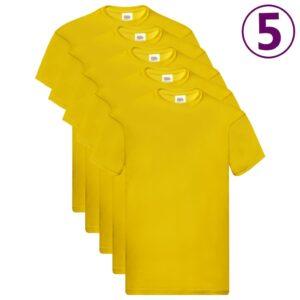 Fruit of the Loom T-shirts originais 5 pcs algodão L amarelo - PORTES GRÁTIS