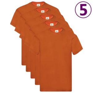 Fruit of the Loom T-shirts originais 5 pcs algodão M laranja - PORTES GRÁTIS