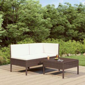 3 pcs conjunto lounge jardim c/ almofadões vime PE castanho - PORTES GRÁTIS