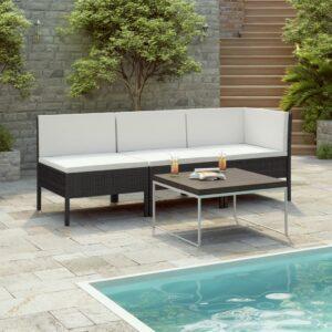 3 pcs conjunto lounge de jardim c/ almofadões vime PE preto - PORTES GRÁTIS