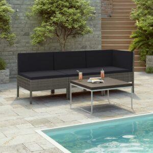 3 pcs conjunto lounge de jardim c/ almofadões vime PE cinzento - PORTES GRÁTIS