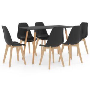 7 pcs conjunto de jantar preto - PORTES GRÁTIS