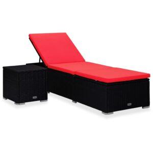 Espreguiçadeira com almofadão e mesa de centro vime PE vermelho - PORTES GRÁTIS