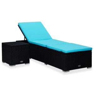 Espreguiçadeira com almofadão e mesa de centro vime PE azul - PORTES GRÁTIS