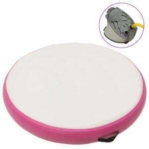 Tapete de ginástica insuflável com bomba 100x100x10 cm PVC rosa - PORTES GRÁTIS
