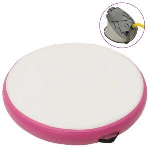 Tapete de ginástica insuflável com bomba 100x100x15 cm PVC rosa - PORTES GRÁTIS