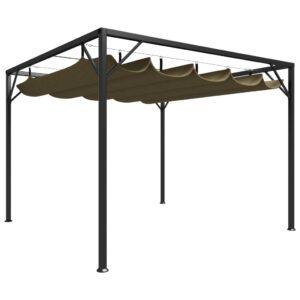 Gazebo jardim telhado retrátil 3x3 m 180 g/m² cinza-acastanhado - PORTES GRÁTIS