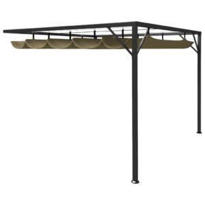 Gazebo parede telhado retrátil 3x3 m 180 g/m² cinza-acastanhado - PORTES GRÁTIS