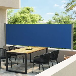 Toldo lateral retrátil para pátio 140x600 cm azul - PORTES GRÁTIS