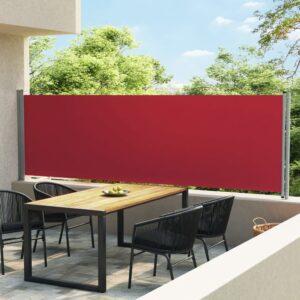 Toldo lateral retrátil para pátio 140x600 cm vermelho - PORTES GRÁTIS