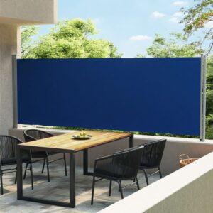 Toldo lateral retrátil para pátio 600x160 cm azul - PORTES GRÁTIS