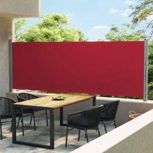 Toldo lateral retrátil para pátio 600x160 cm vermelho - PORTES GRÁTIS