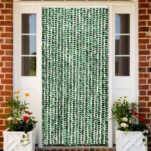 Cortina anti-insetos 56x185 cm chenille verde e branco - PORTES GRÁTIS