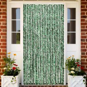 Cortina anti-insetos 100x220 cm chenille verde e branco - PORTES GRÁTIS