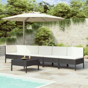 6 pcs conjunto lounge de jardim c/ almofadões vime PE preto - PORTES GRÁTIS