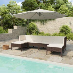 6 pcs conjunto lounge jardim c/ almofadões vime PE castanho - PORTES GRÁTIS