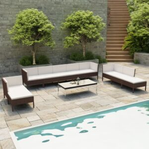 10 pcs conjunto lounge jardim c/ almofadões vime PE castanho - PORTES GRÁTIS