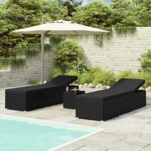 3 pcs espreguiçadeiras jardim c/ mesa de centro vime PE preto - PORTES GRÁTIS