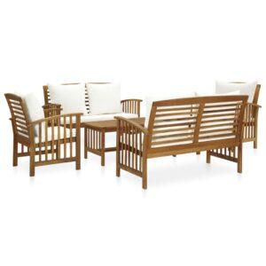 5 pcs conjunto lounge de jardim c/ almofadões acácia maciça - PORTES GRÁTIS