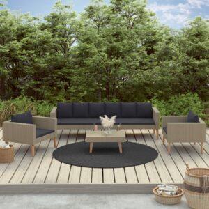 4 pcs conjunto lounge de jardim c/ almofadões vime PE bege - PORTES GRÁTIS