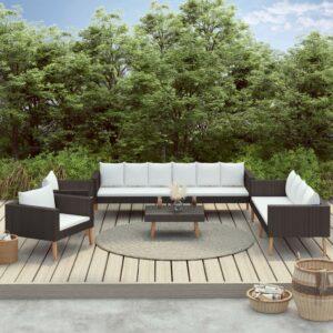 5 pcs conjunto lounge de jardim c/ almofadões vime PE preto - PORTES GRÁTIS