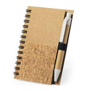 Caderno de Argolas com Caneta  Castanho