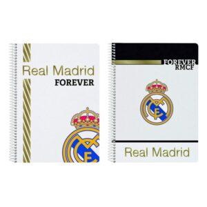 Caderno de Argolas Real Madrid C.F. Branco Preto A5