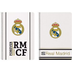 Caderno de Argolas Real Madrid C.F. Branco Preto A4