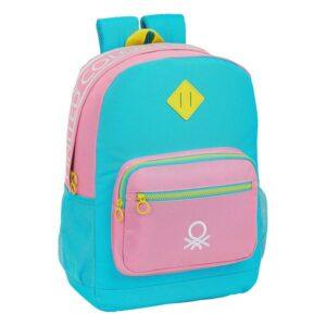 Mochila para notebook Benetton Color Block 15,6'' Amarelo Cor de Rosa Turquesa
