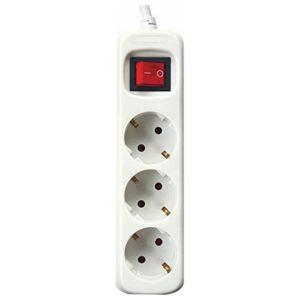 Extensão com 3 tomadas com interruptor Silver Electronics 3680W Branco