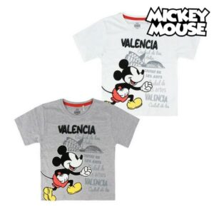 Camisola de Manga Curta Infantil Valencia Mickey Mouse Cinzento 5 anos