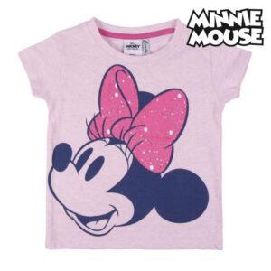 Camisola de Manga Curta Infantil Minnie Mouse Cor de Rosa 3 anos