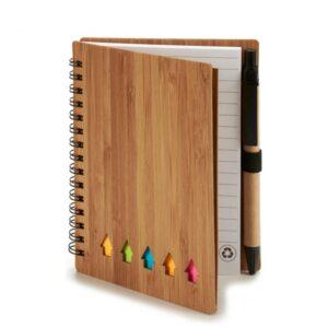 Caderno com Argolas de Bambu com Caneta  (1 x 14,5 x 11,5 cm)