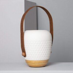 Lâmpada de Mesa Ledkia Saquet Branco Cerâmica E27 (360x195 mm)