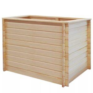 Canteiro elevado para jardim 100x100x80cm madeira de pinho 19mm - PORTES GRÁTIS